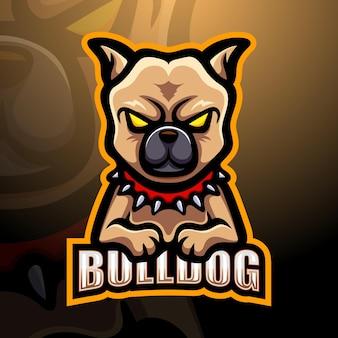 Illustrazione del logo esport della mascotte del bulldog