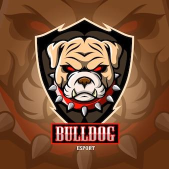Bulldog mascotte esport logo.