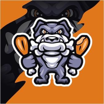 Disegno del logo della mascotte del bulldog