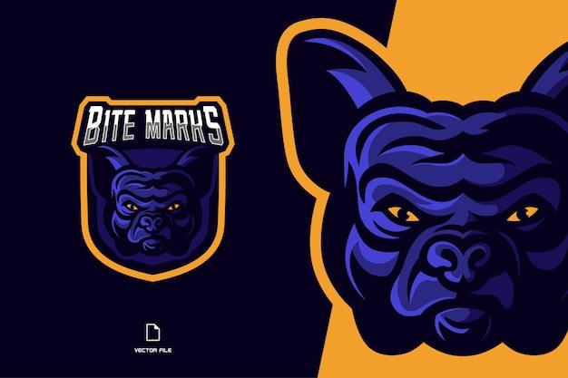 Bulldog mascotte logo gioco sport e modello di esport illustrazione