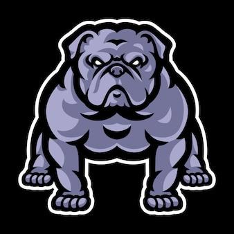 Modello di logo mascotte bulldog Vettore Premium