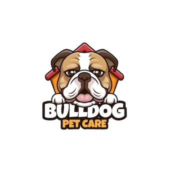 Bulldog pet care cartoon illustrazione logo