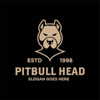 Bulldog pitbull faccia testa vintage logo retrò vettore