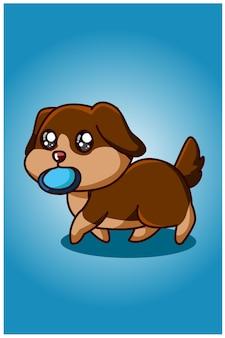 Il cucciolo del bulldog trasporta la sua illustrazione del disegno della mano del piatto