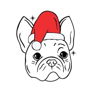 Bulldog in un cappello da babbo natale cartolina di natale con contorno di bulldog