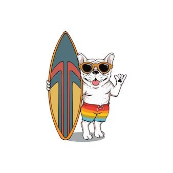 Modello mascotte bulldog e tavola da surf