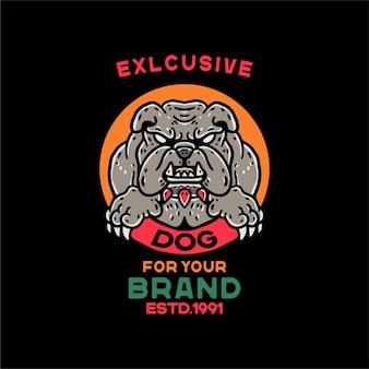 Personaggio vintage bulldog per maglietta