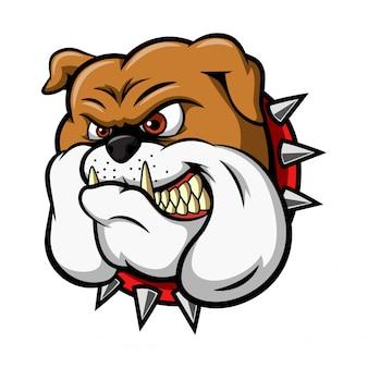Illustrazione della mascotte della testa dell'animale selvatico del bulldog