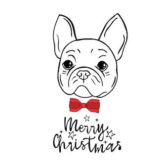 Bulldog con fiocco cartolina di natale scritta merry christmas lettering