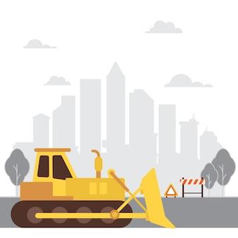 Macchine edili bulldozer. progettazione del bulldozer