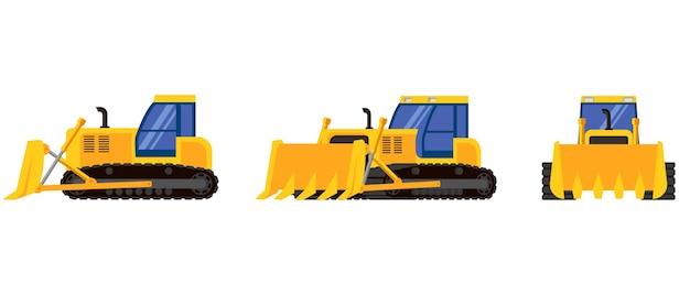 Bulldozer in diverse angolazioni. macchinari speciali in stile cartone animato.