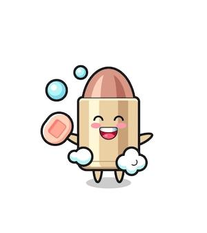 Il personaggio di proiettile sta facendo il bagno mentre tiene il sapone, design in stile carino per maglietta, adesivo, elemento logo