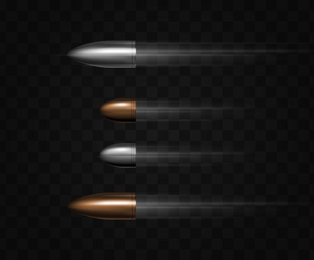 Proiettile in volo con tracce su trasparente