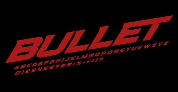 Bullet font alfabeto lettere speed race logo tipografia grassetto corsivo tipografico dinamico
