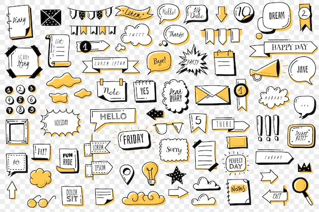Set di banner doodle proiettile journal. insegne ed elementi disegnati a mano del giornale del proiettile di scarabocchi per il taccuino, il diario e il pianificatore. cornici, bordi, vignette, contorno di divisori