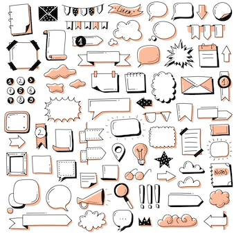 Set di banner doodle proiettile journal. insegne ed elementi disegnati a mano del giornale del proiettile di scarabocchi per il taccuino, il diario e il pianificatore