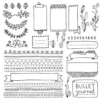 Elementi disegnati a mano di bullet journal per notebook, diario e pianificatore. banner doodle isolati su sfondo bianco. note, elenco, cornici, divisori, nastri.
