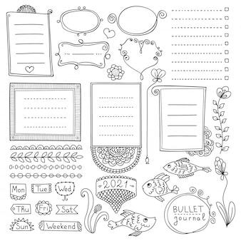 Elementi disegnati a mano del diario di proiettile per taccuino, diario e pianificatore. banner di doodle