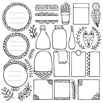 Elementi disegnati a mano di bullet journal per notebook, diario e pianificatore. cornici doodle isolati