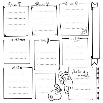 Elementi disegnati a mano del diario di proiettile per taccuino, diario e pianificatore. set di cornici doodle