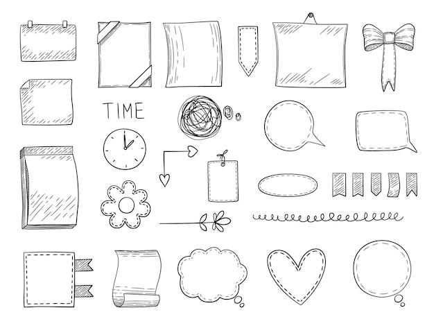 Diario di proiettili. bordi di cornici disegnate a mano e modelli di note divisori per quaderni personali