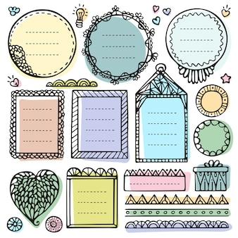 Elementi vettoriali disegnati a mano di bullet journal per notebook, diario e pianificatore. set di cornici doodle isolato.