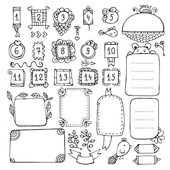 Elementi vettoriali disegnati a mano di bullet journal per notebook, diario e pianificatore.