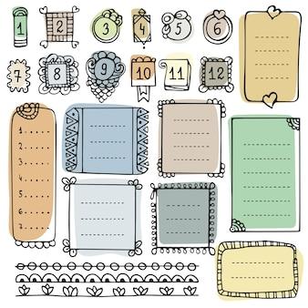 Elementi vettoriali disegnati a mano di bullet journal per notebook