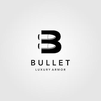 Illustrazione creativa dell'icona della lettera b di logo della pallottola