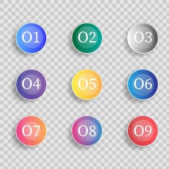 Icona marcatore proiettile con numero da 1 a 12 per infografica, presentazione. numero punto elenco pennarelli 3d colorati isolati su sfondo trasparente. colore sfumato punto appiccicoso. illustrazione vettoriale.