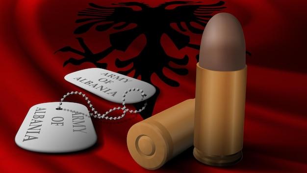 Proiettile e gettone militare nella bandiera nazionale dell'albania