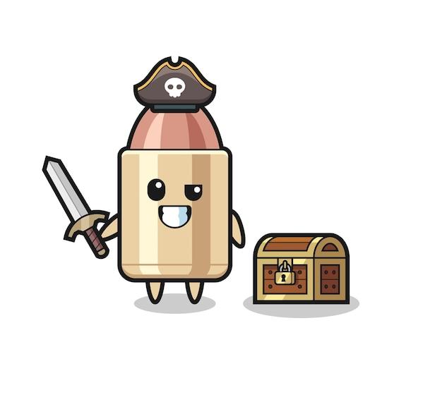 Il personaggio pirata proiettile che tiene la spada accanto a una scatola del tesoro, design in stile carino per maglietta, adesivo, elemento logo