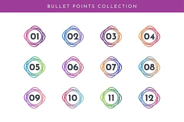 La raccolta del numero di punti elenco è impostata da 1 a 12