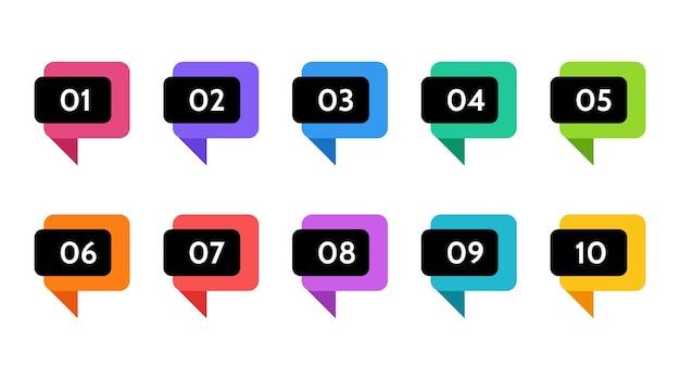 Dati di punti elenco, indicatori di informazioni. icona freccia. numero di bandiere isolato illustrazione infografica