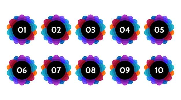 Dati di punti elenco, indicatori di informazioni. set di icone freccia. numero di bandiere da 1 a 12 design piatto isolato. illustrazione infografica.