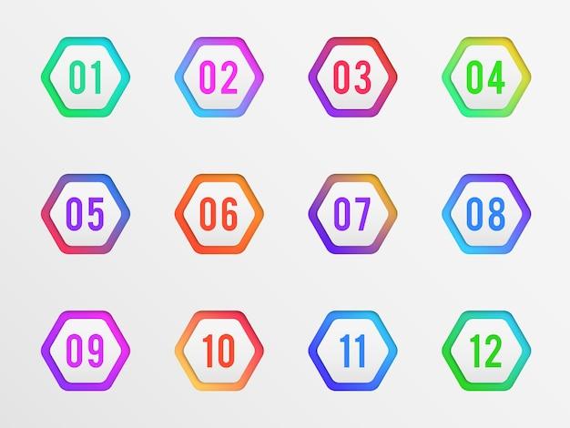 Punti elenco con illustrazione di numeri di etichetta colorata
