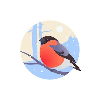 Ciuffolotto su un ramo in un cerchio. stile piatto avatar. illustrazione vettoriale