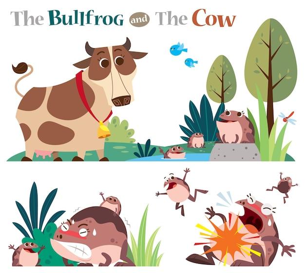 La rana toro e la mucca isolata su bianco