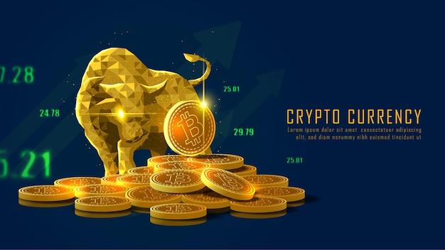 Tendenza rialzista della criptovaluta bitcoin in un concetto futuristico dorato
