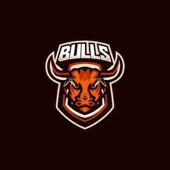 Modello di logo della mascotte di gioco di bulls esport