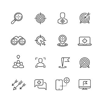 Bullseye, attenzione al cliente e icone linea di targeting