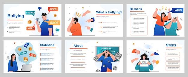 Concetto di bullismo per il modello di diapositiva della presentazione le persone soffrono di abusi e problemi a scuola