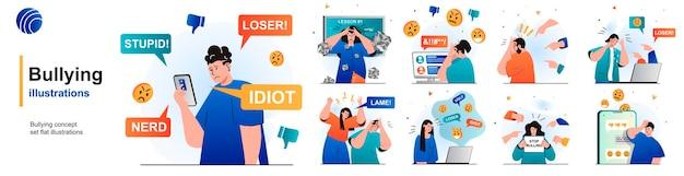 Set isolato di bullismo abuso sul lavoro scolastico o comunicazione tossica su internet di scene in appartamento Vettore Premium