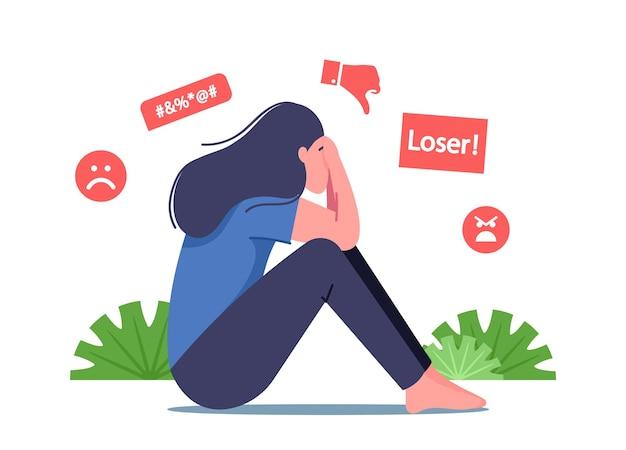 Bullismo nei social media, abuso di bullismo e concetto di molestie. personaggio femminile seduto con la faccia coperta che piange dopo essere stato vittima di bullismo e chiamato con nomi sgradevoli online. cartoon persone illustrazione vettoriale