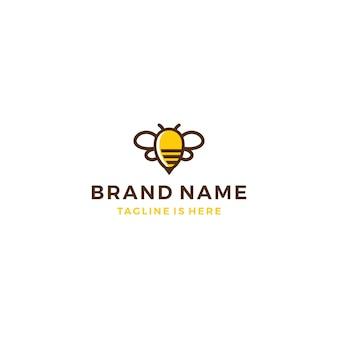 Bumble bee hive miele logo template icona illustrazione vettoriale