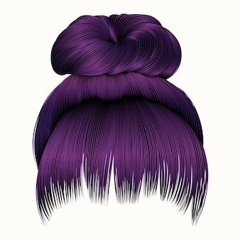 Capelli del panino con colore viola della frangia isolato su bianco