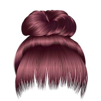 Bun hairs con frangia color rosa rame. le donne moda stile di bellezza.