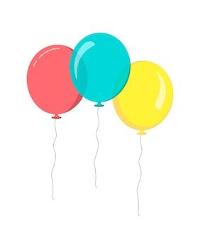 Grappolo di palloncini in stile piatto. palloncini luminosi gialli rossi blu