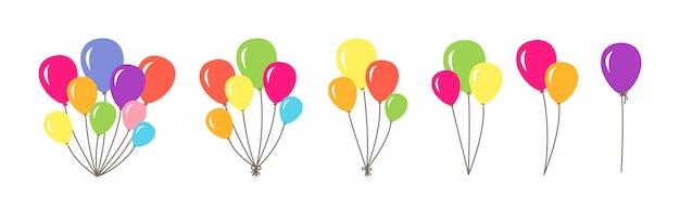 Insieme del mazzo di palloncini. mazzi colorati e gruppi di palloncini di elio. collezione piatta del fumetto di disegno della festa di compleanno. palloncino rotondo regalo a sorpresa per le vacanze. illustrazione isolata