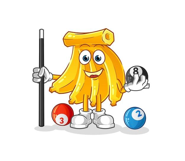 Il mazzo di banane gioca a biliardo mascotte dei cartoni animati. mascotte mascotte dei cartoni animati
